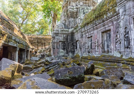Ancient ruins of Angkor wat temple in Siem Reap, Cambodia. It has Khmer cultural architecture design. - stock photo