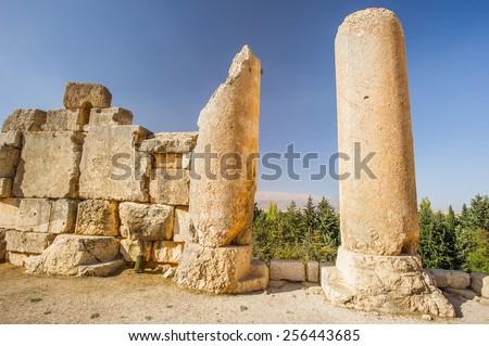 Ancient ruins of Baalbek, Lebanon - stock photo