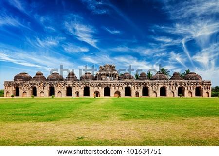 Ancient ruins of Elephant Stables, Royal Centre. Hampi, Karnataka, India. Stitched panorama - stock photo