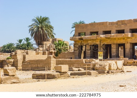 Ancient ruins of Karnak temple in Egypt in the summer of 2012 - stock photo
