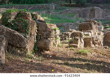 Ancient ruins of  Olympia, Greece is situated on the Peloponnese. UNESCO world heritage site. - stock photo