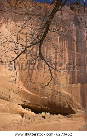Ancient ruins of pre-historic Indian cultures of American southwest and surroundings, Canyon de Chelle - stock photo