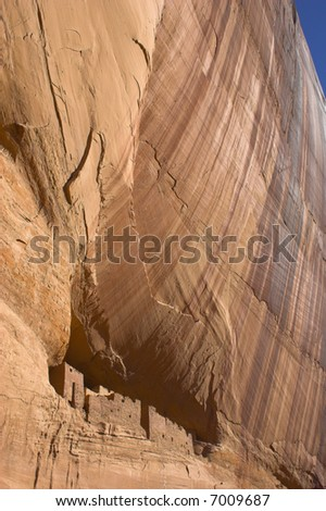 Ancient ruins of pre-historic Indian cultures of American southwest and surroundings, Canyon de Chelly - stock photo