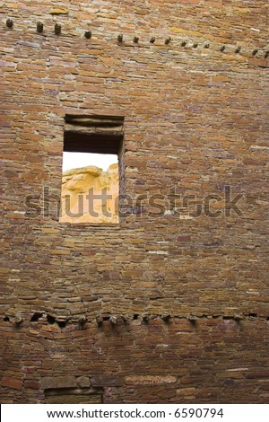 Ancient ruins of pre-historic Indian cultures of American southwest and surroundings, Chaco Culture National park - stock photo