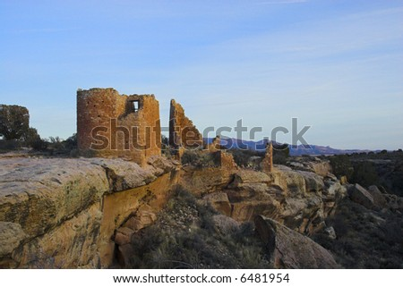 Ancient ruins of pre-historic Indian cultures of American southwest and surroundings, Hovenweep National Monument - stock photo