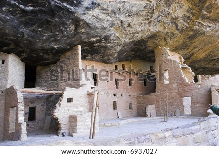 Ancient ruins of pre-historic Indian cultures of American southwest and surroundings, Mesa Verde National Park - stock photo