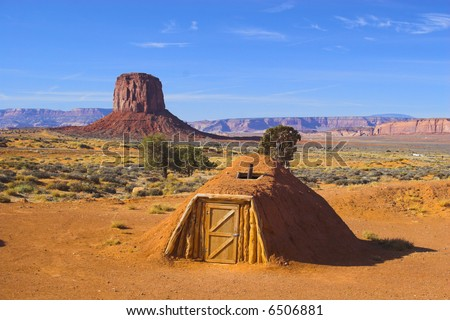Ancient ruins of pre-historic Indian cultures of American southwest and surroundings, Monument Valley - stock photo