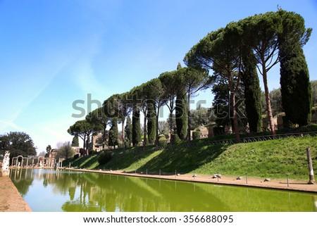 Ancient ruins of Villa Adriana ( The Hadrian's Villa ), Canopo, Tivoli, Italy - stock photo