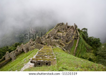 Ancient ruins of Winay wayna near Machu Picchu - stock photo