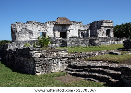 Ancient ruins on the archaeological site in Mexico near Cancun