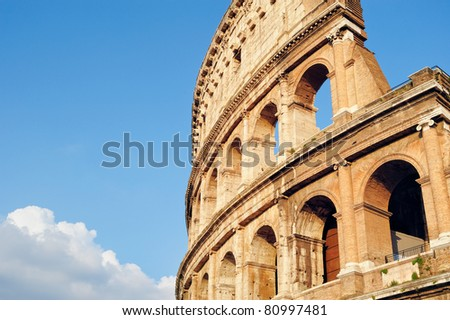 Ancient ruins Roman Colosseum. View from side - stock photo