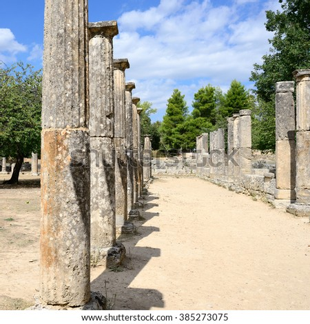 Ancient ruins shown in Olympia. UNESCO world heritage site.  - stock photo