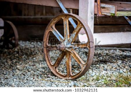 Ancient rural metal wheel of cart