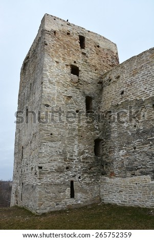 Ancient Russian fortress in Izborsk town, Pskov region - stock photo