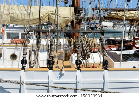 Ancient sailing vessel - stock photo