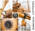 Ancient sailing vessel collage.Yachting concept - stock