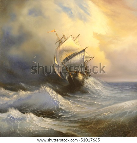 Ancient sailing vessel in stormy sea - stock photo