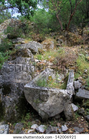 Ancient sarcophaguses and ruins in Olimpos, Turkey
