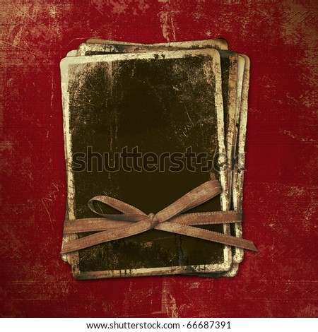 Ancient scratch background with gold edging for announcement - stock photo