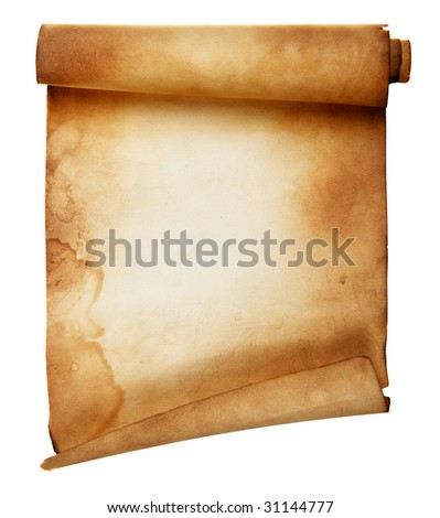 Ancient scroll isolated over a white background