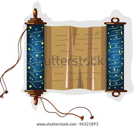 ancient scroll,passover jewish. - stock photo