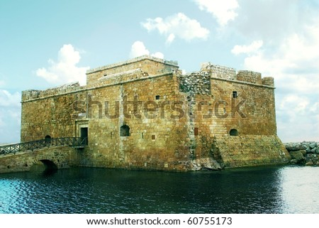 Ancient Sea Castle at Paphos town in Cyprus - stock photo