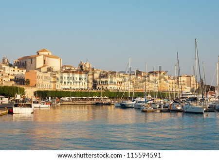 Ancient Siracusa city during sunset, Sicily island, Italy - stock photo