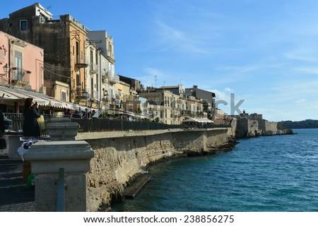 Ancient Siracusa city , Sicily island, Italy - stock photo