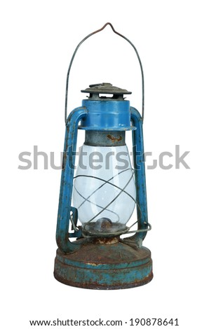 Ancient small lamp  isolated on white background - stock photo