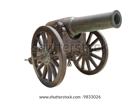 Ancient Spanish howitzer cannon ( Obús de bronce de 21cm Plasencia Md. 1885/91 ) isolated on white - stock photo