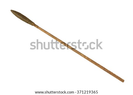 ancient spear isolated on white background - stock photo