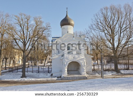 Ancient St. George Church in Pskov, Russia - stock photo