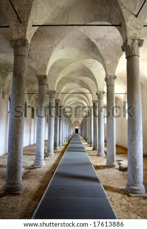 Ancient stables built in Vigevano after a project by Leonardo da Vinci - stock photo
