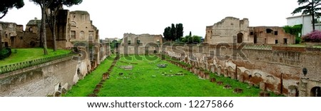 Ancient Stadium at Palatine Hill. Panoramic View. Rome