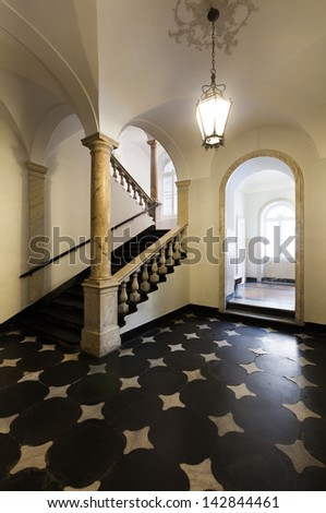 ancient staircase of a classic historic building, interior