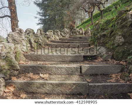 Ancient stairway on a hill among the trees