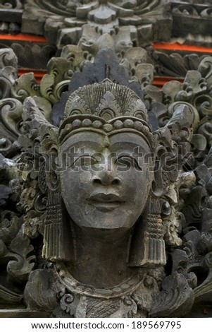 Ancient Statue in Tanah Lot, Bali, Indonesia - stock photo