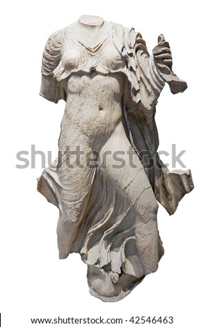 Ancient statue in white stone of a half nude woman isolated on white