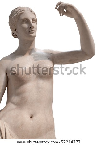Ancient statue of a nude Venus isolated on white with clipping path - stock photo