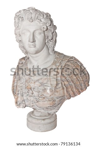 Ancient  statue of Alexander the Great isolated on a white background with clipping path - stock photo
