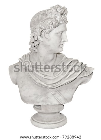 Ancient statue of Alexander the Great isolated on a white background with clipping path
