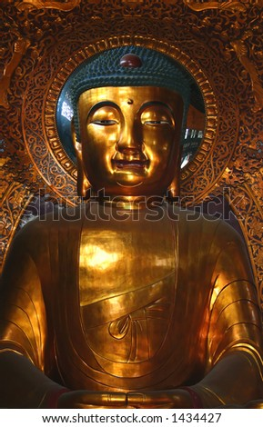 Ancient statue of Amitabha, Temple of Six Banyans, China