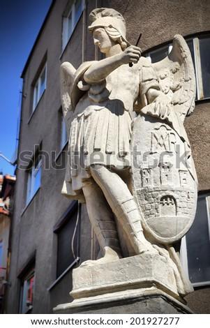 ancient statue archangel michael emblem bratislava stock photo edit