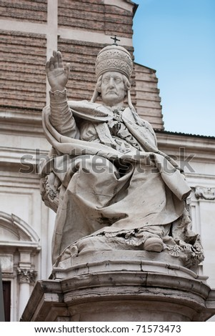 Ancient Statue of Pope Clemente XII in Ancona, Italy - stock photo