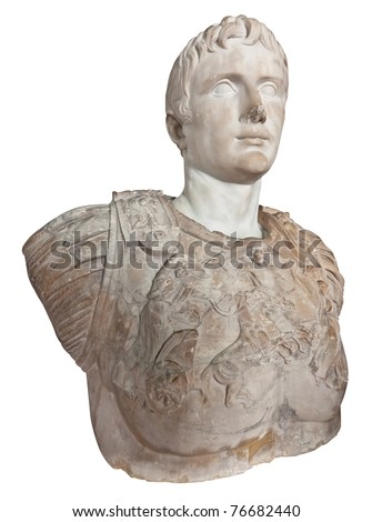 Ancient statue of the first roman emperor Augustus isolated on a white background with clipping path - stock photo