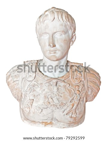 Ancient statue of the roman emperor Augustus isolated on a white background with clipping path - stock photo