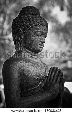 Ancient statue telling story of Budha - stock photo