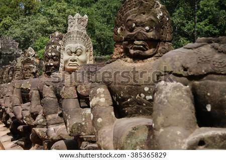 Ancient statues in Angkor Wat, Siem reap, Cambodia