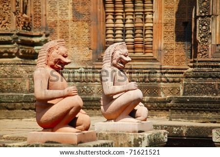 Ancient statues in Banteay Srei temple, Siem Reap complex, Cambodia - stock photo