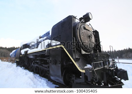 Ancient steam locomotive and blue  sky  in  Iwate  japan - stock photo